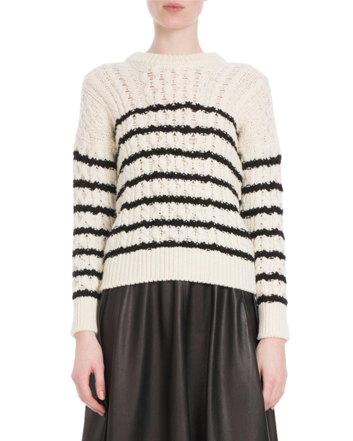 dd98681750 Loewe Crewneck Striped Cable-Knit Wool Sweater In White Black