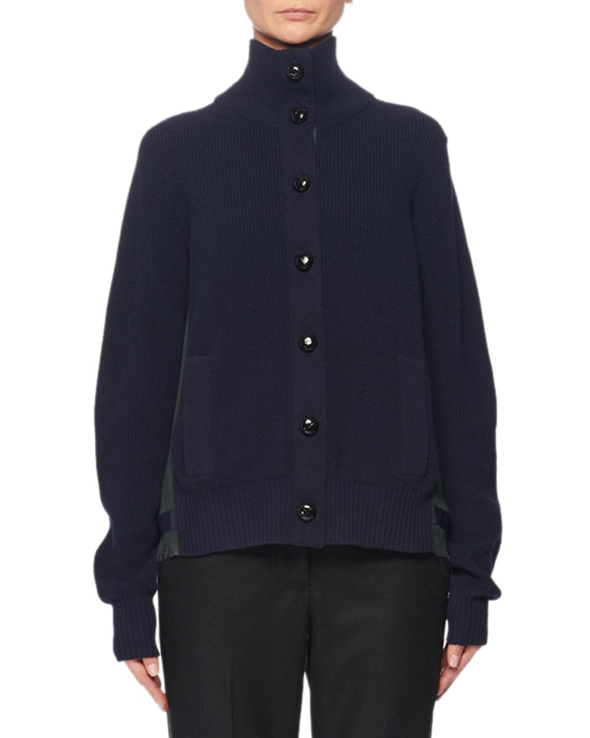 Sacai Turtleneck Button-Front Pleated-Back Wool Cardigan In Navy