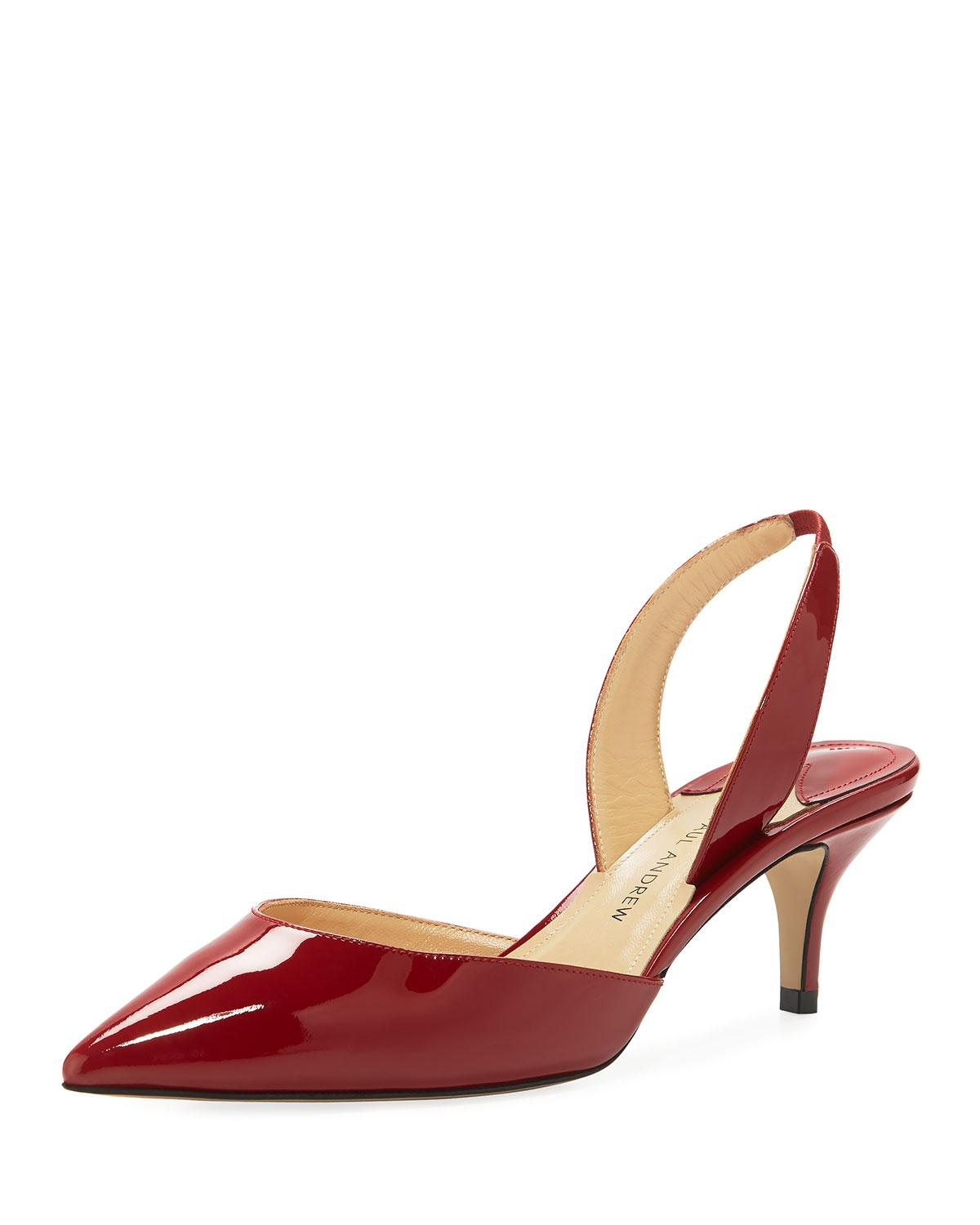Paul Andrew Rhea 55Mm Patent Leather Slingback Pumps In Red