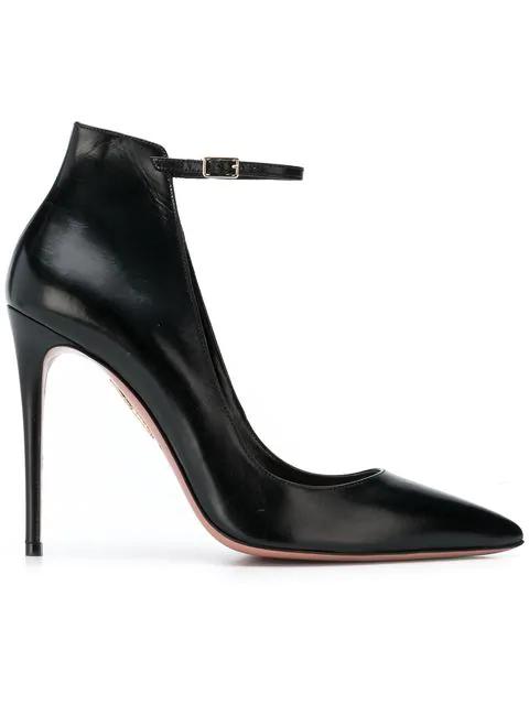 Aquazzura Calf Leather Ankle-Strap Pump In Black