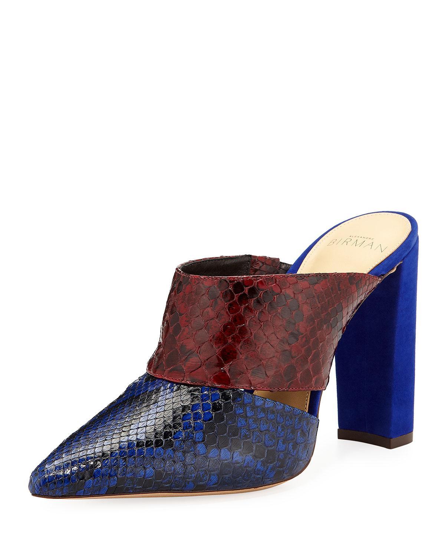 Alexandre Birman Two-Tone Python Snake/Suede Block-Heel Mules In Blue