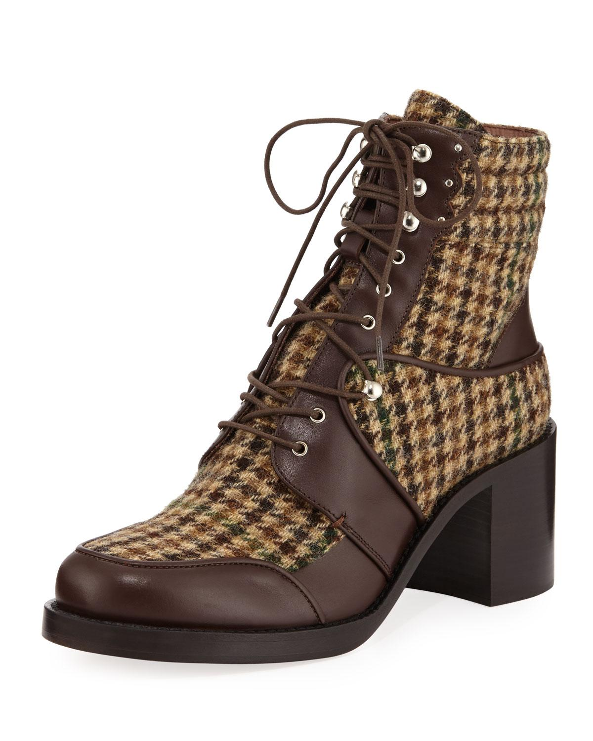 274c812597b9 Tabitha Simmons Leo Houndstooth Lace-Up Mixed Booties In Green Tweed Brown