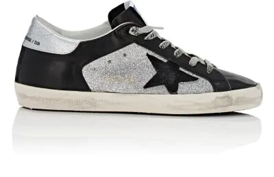 Golden Goose Superstar Glitter & Leather Low-Top Sneakers In Black