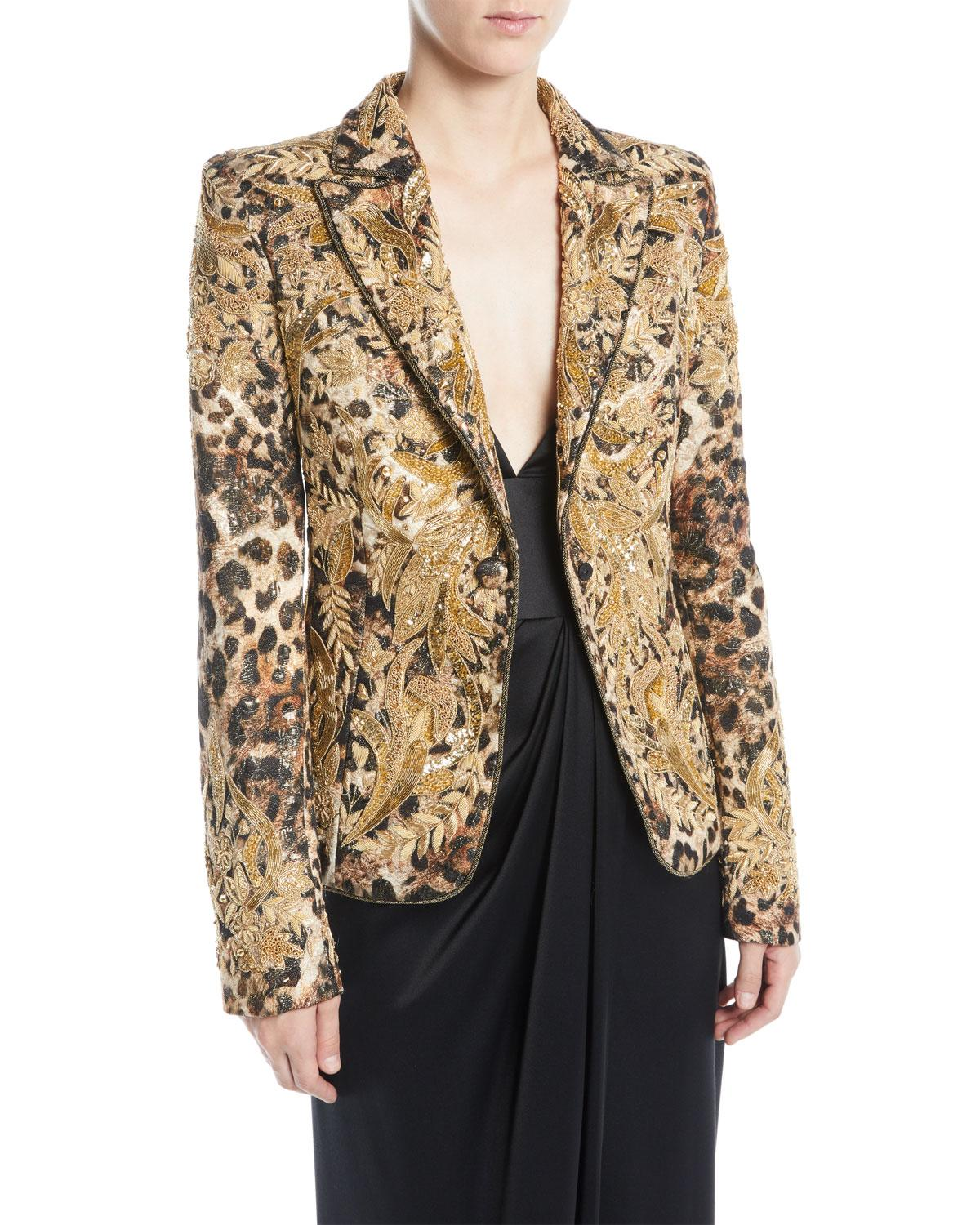 Naeem Khan Animal-Print Beaded Jacquard Jacket In Animal Print