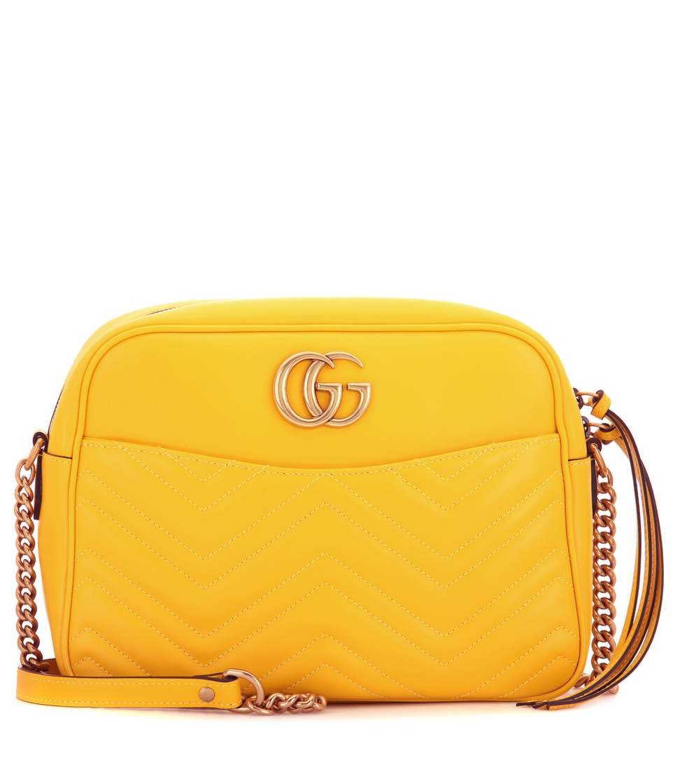 24219a59d2a Gucci Gg Marmont MatelassÉ Leather Shoulder Bag In Yellow Leather ...