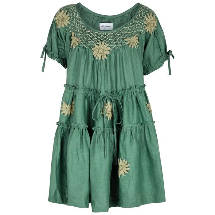 e06503951e Innika Choo Bre Danbutta Smocked Linen Dress In Khaki