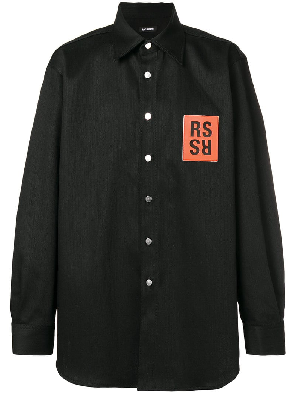 fc4abe557cb Raf Simons Oversized Logo Patch Denim Shirt In Black