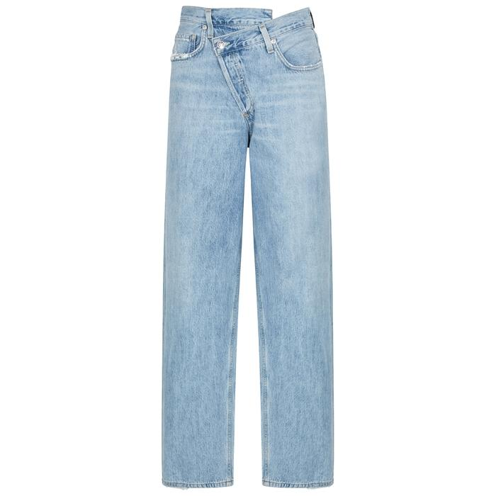 aae962a6af656 Agolde Criss Cross Straight-Leg Jeans In Light Blue   ModeSens