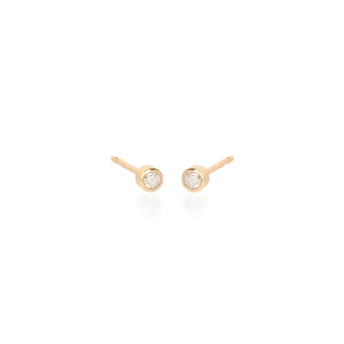 ZoË Chicco 14Ct Yellow Gold Diamond Bezel Stud Earrings