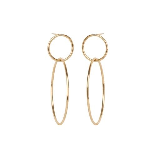 ZoË Chicco 14Ct Yellow Gold Double Circle Stud Earrings