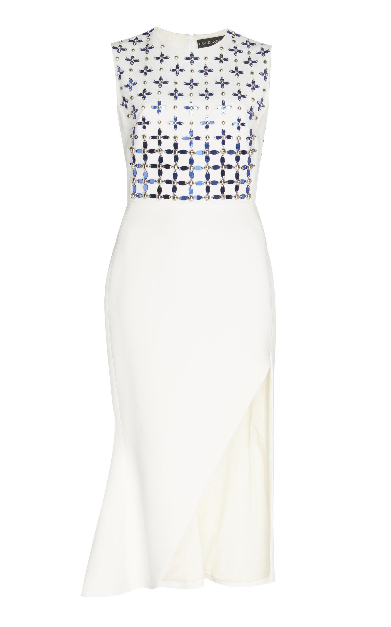 841d910e767 David Koma Floral Embroidered Flounce Dress In White
