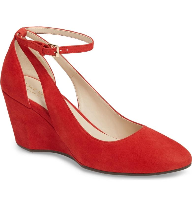 605d7f265b52 Cole Haan Lacey Cutout Wedge Pump In Barbados Cherry Suede | ModeSens