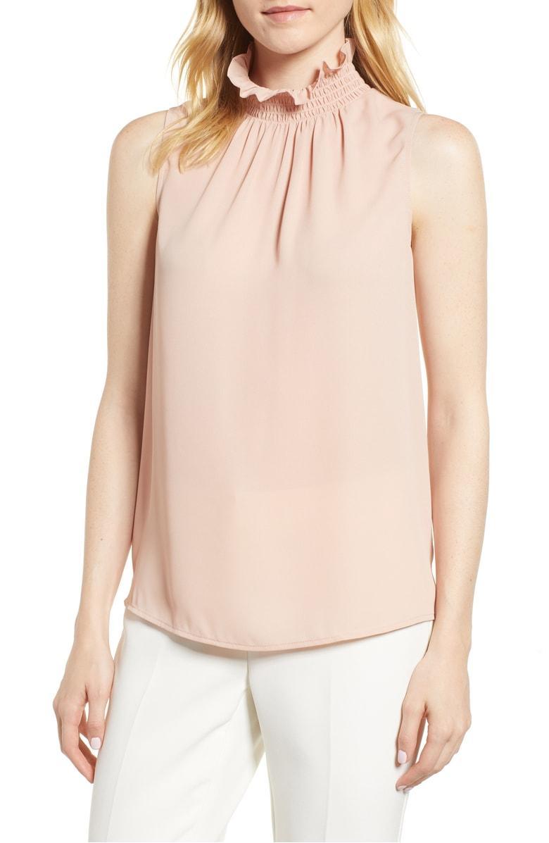 5e3ab62401e140 Vince Camuto Ruffle Neck Blouse In Clover Pink   ModeSens