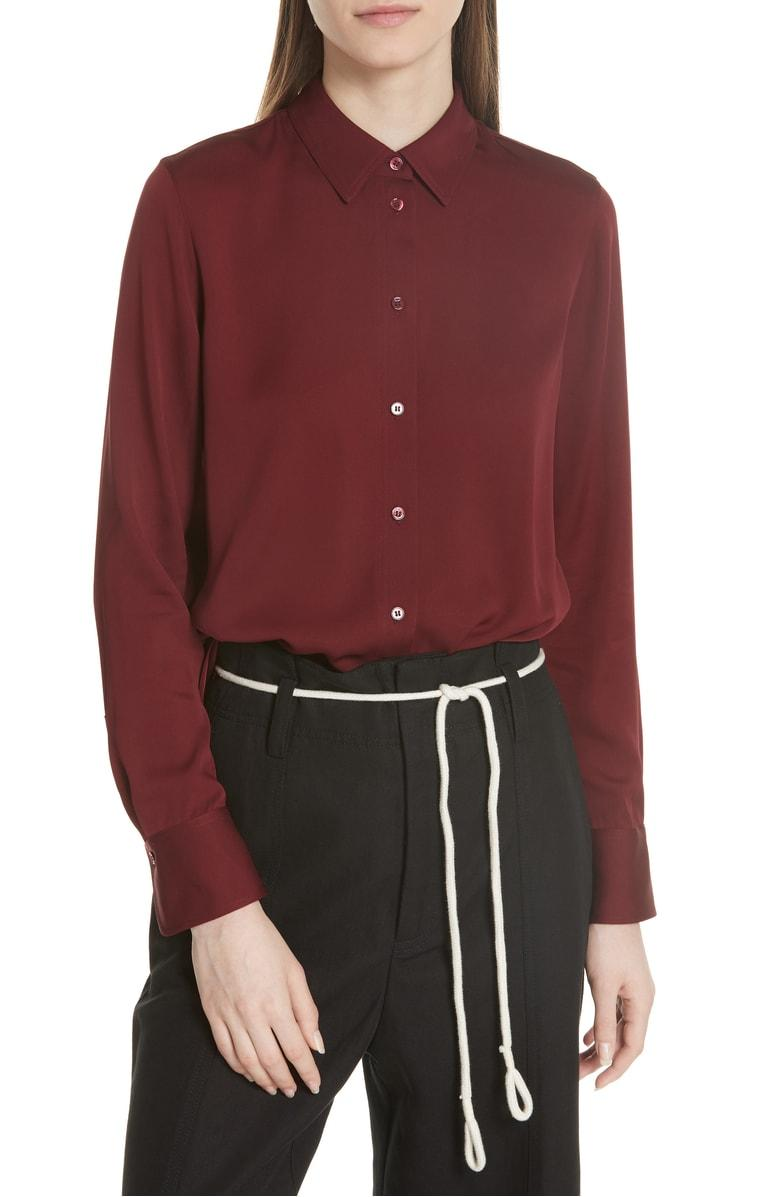 9bd1fe0b6cb94 Vince Slim Fit Stretch Silk Blouse In Merlot