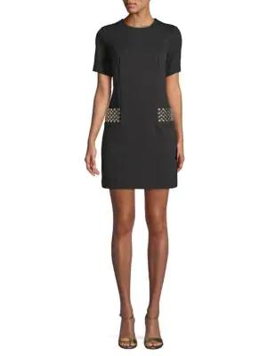 Calvin Klein Embellished Sheath Dress In Black