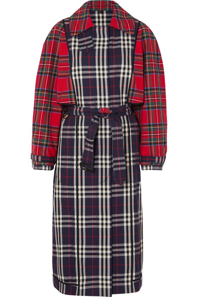 a087bff64 Burberry Patchwork Checked Cotton Trench Coat In Navy | ModeSens