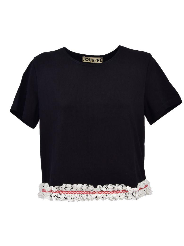 27cfdeff2 Jour/NÉ Jour-Ne Cropped Lace Trim T-Shirt In Black | ModeSens