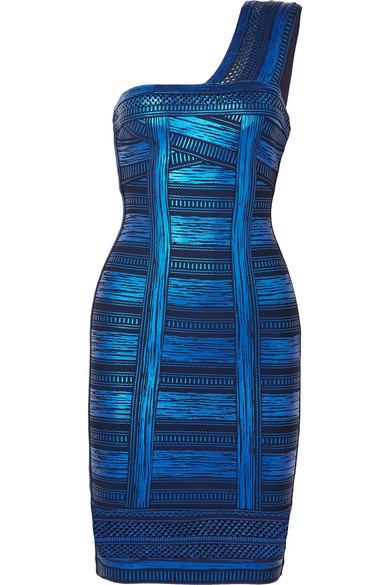 ce6bb9409af4 Herve Leger One-Shoulder Metallic Printed Stretch-Knit Mini Dress In Blue