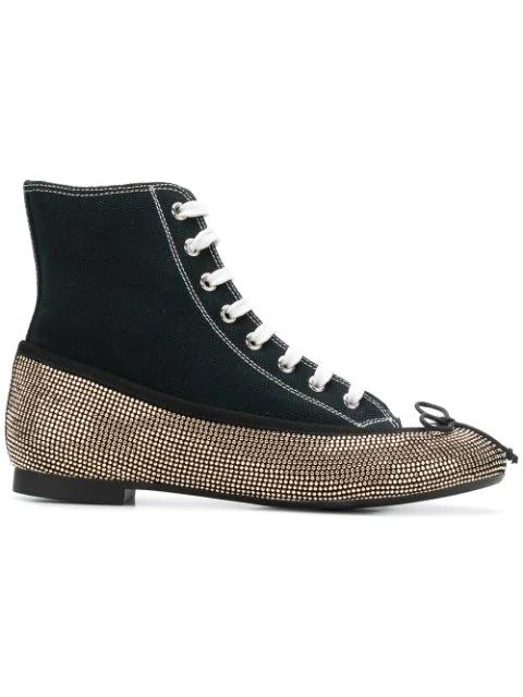 Marco De Vincenzo Rhinestone Embellished Ballerina Sneakers In Black