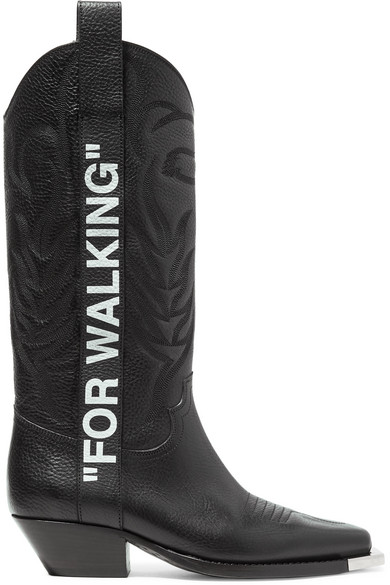 961342d52b29 Off-White For Walking Embroidered Printed Textured-Leather Knee Boots In  Black