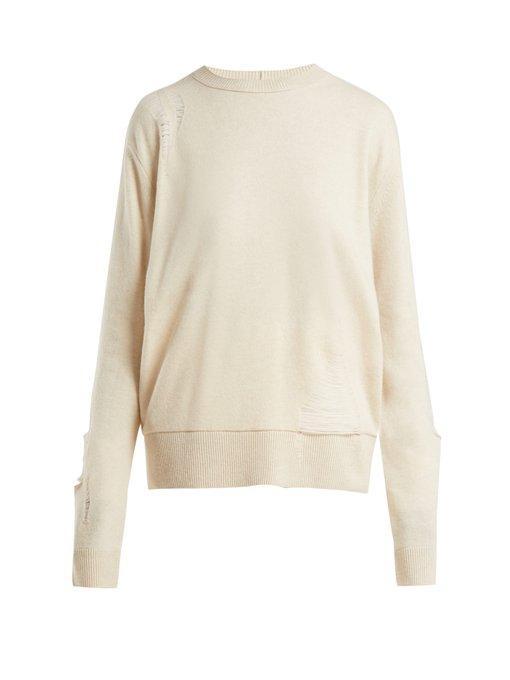 Helmut Lang Wool Shredded Knit Sweater In Light Pink