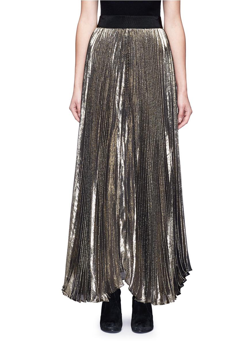 40d8985be Alice And Olivia 'Katz' Metallic PlissÉ Pleat Maxi Skirt In Gold ...