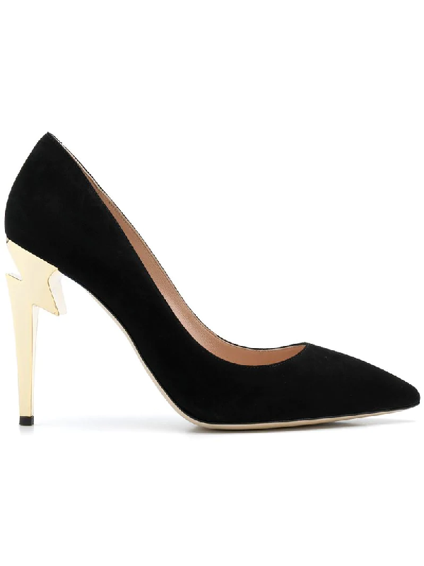 9fda5829a025e Giuseppe Zanotti Black Leather Pumps With Covered 'Sculpted' Heel ...
