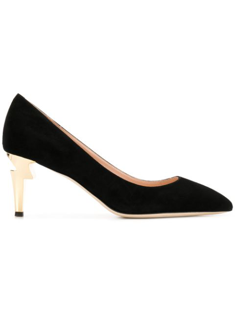 Giuseppe Zanotti Black Leather Pumps With Covered 'Sculpted' Heel.