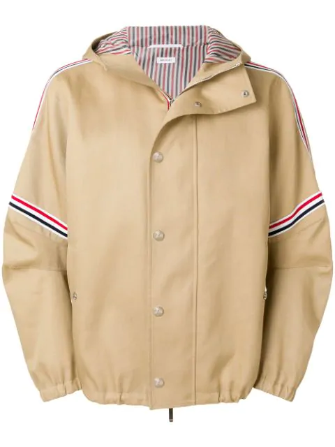 Thom Browne Elastic Stripe Seamed Hooded Jacket In Neutrals