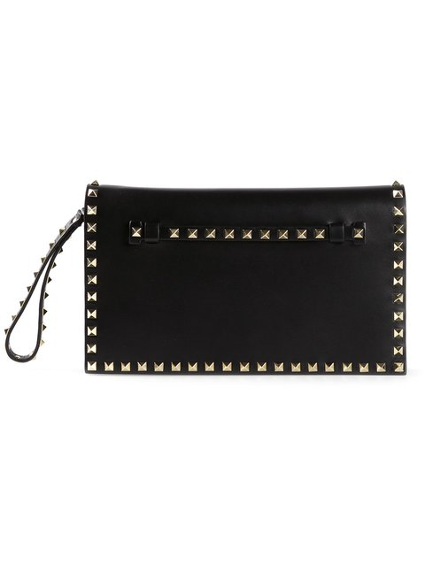 Proenza Schouler Black Leather Small Rockstud Clutch