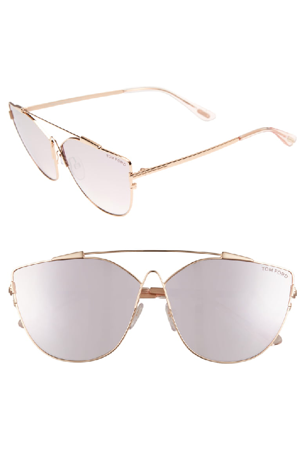 829bc80fff80 Tom Ford Women's Mirrored Oversized Brow Bar Cat Eye Sunglasses, 64Mm In  Rose Gold Mirror