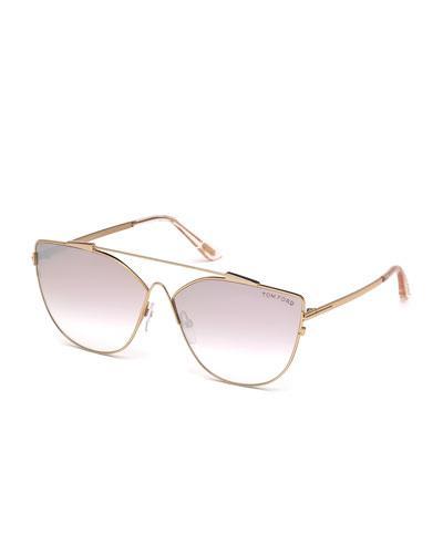 bd20f223b10 Tom Ford Women S Mirrored Oversized Brow Bar Cat Eye Sunglasses ...
