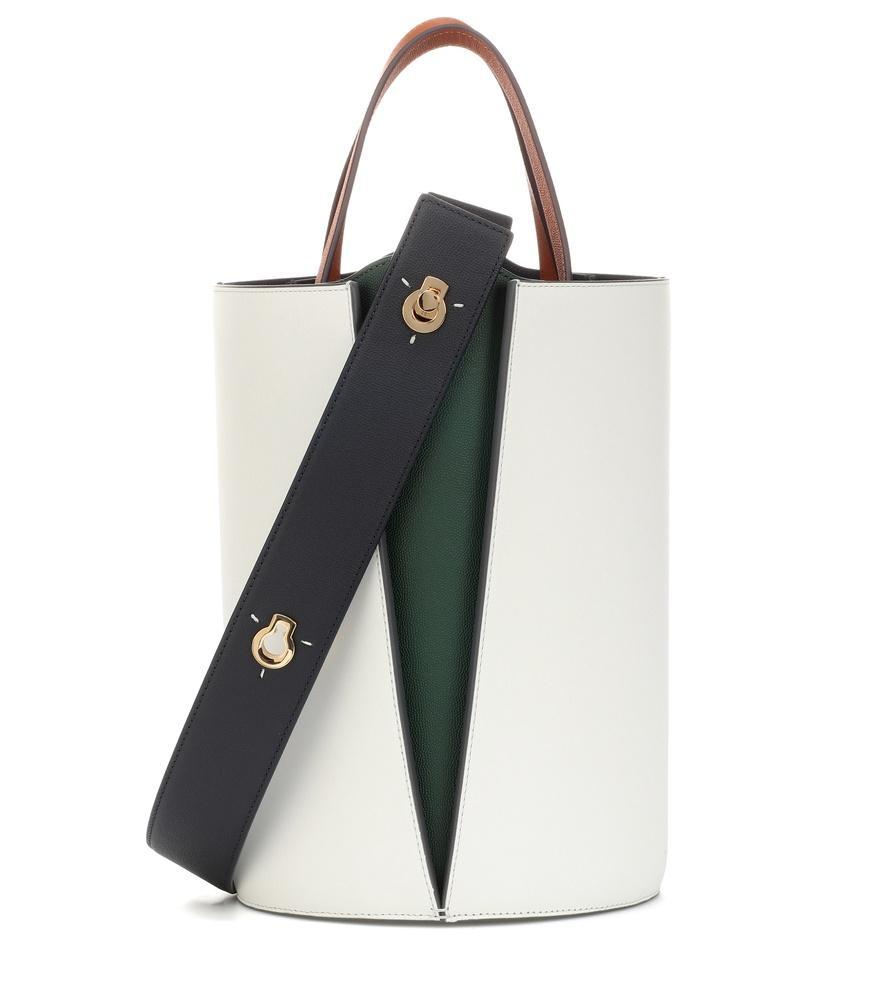 Danse Lente Lorna Mini Paneled Leather Bucket Bag In White  c51a2728e4b44