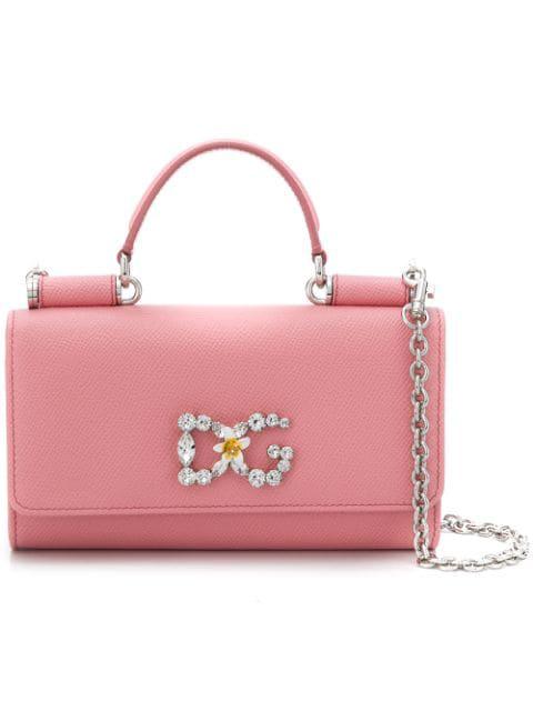 Dolce & Gabbana Mini Embellished Von Cross Body Bag In Pink