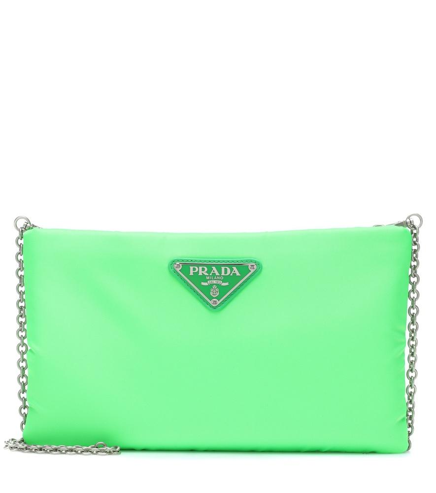 64f3c92c9c31b8 Prada Logo Plaque Clutch In Green | ModeSens