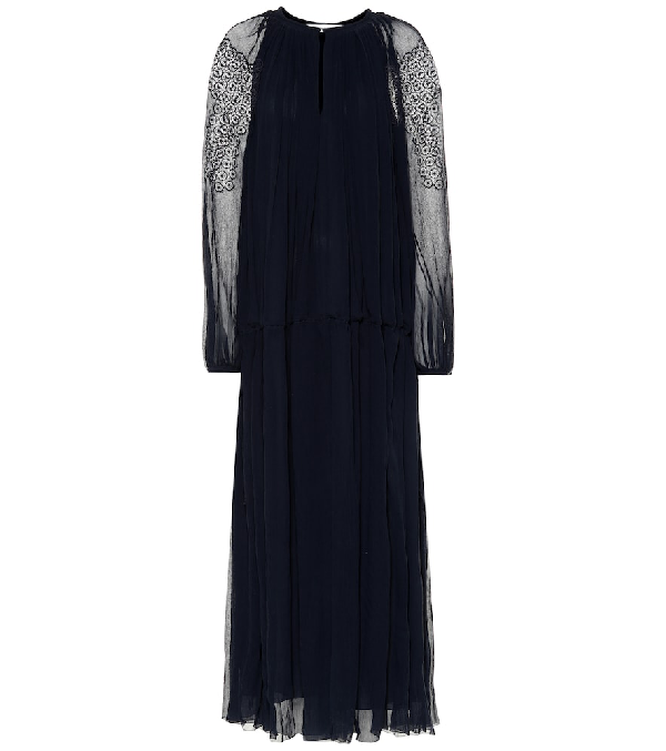 ChloÉ Lace-Trimmed Silk-Crepon Maxi Dress In Blue
