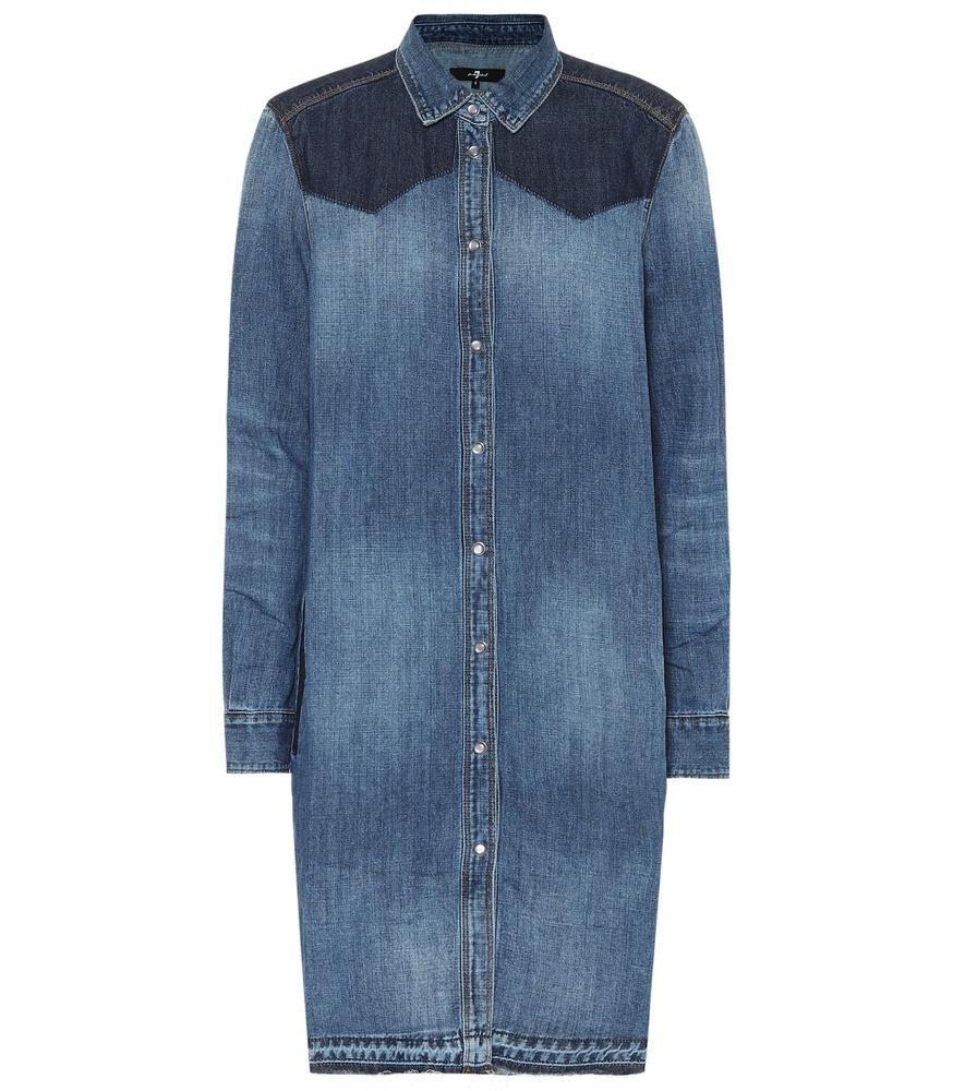 7 For All Mankind Rider Denim Shirt Dress In Blue