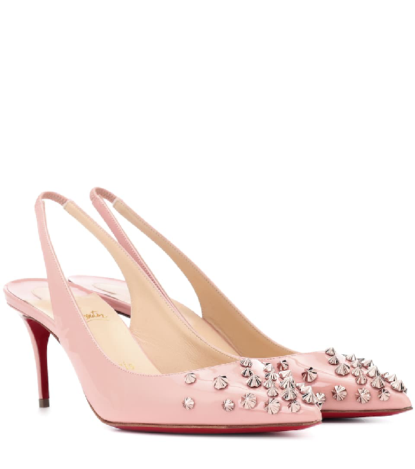 Christian Louboutin Drama 70 Blush Patent Leather Slingback Stud Pumps In Antique Rose