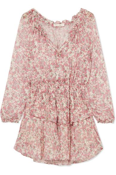 24b05411ffe Loveshackfancy Tiered Floral-Print Silk-Georgette Mini Dress In Pink ...