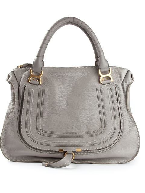 ChloÉ Marcie Small Textured-Leather Tote In Light Gray