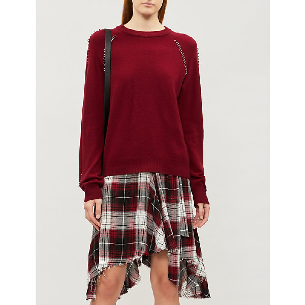 The Kooples Pierced Wool And Cashmere-Blend Jumper In Bur01