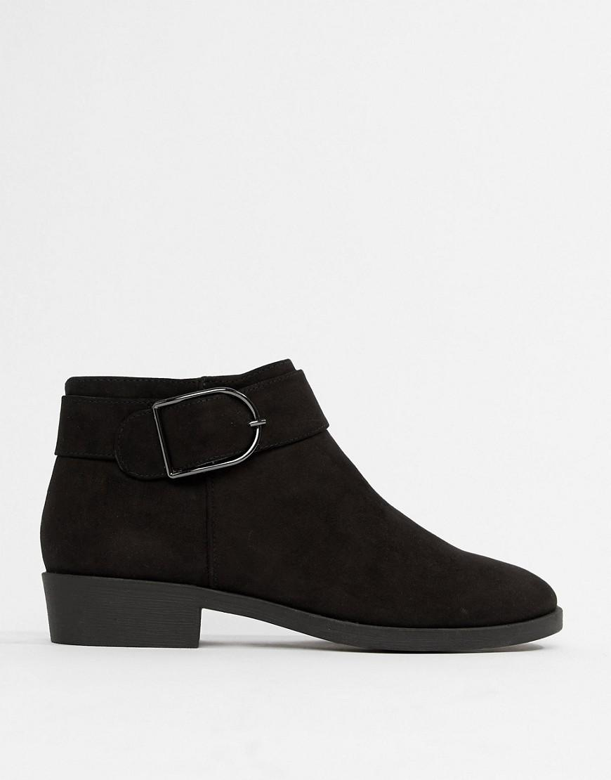 New Look Flat Chelsea Boot With Buckle Detail-black