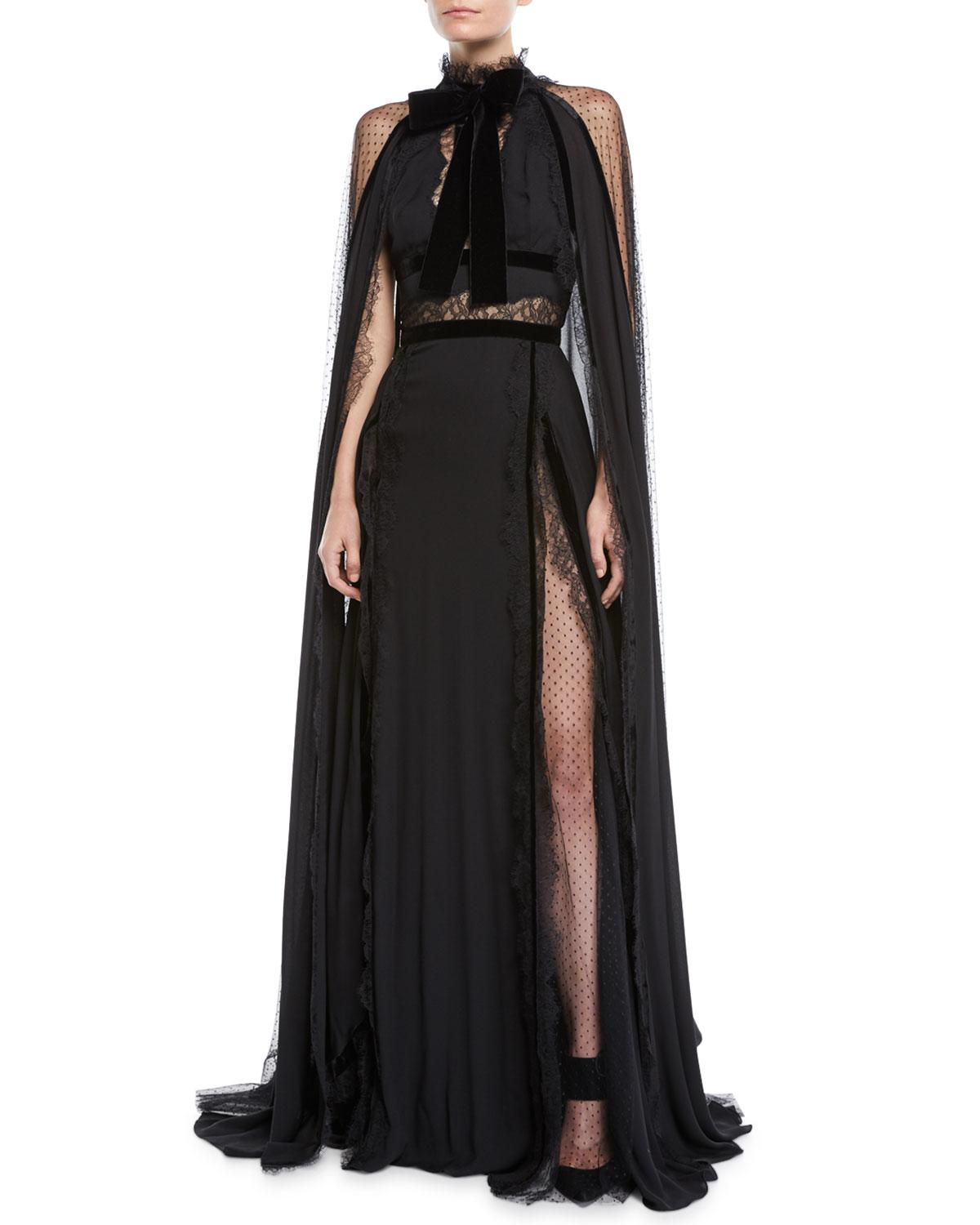 1f746f0eed2a Elie Saab Long Crepe Georgette Cape Evening Gown W  Lace   Velvet Details  In Black