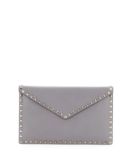 32c65ea5cc Valentino Rockstud Large Envelope Clutch Bag In Light Gray