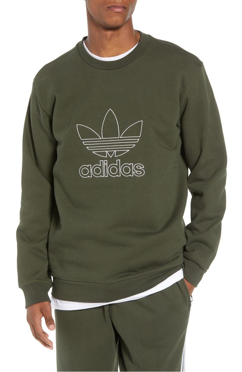 1e8fd12fc8 Adidas Originals Adidas Outline Trefoil Crewneck Sweatshirt In Night Cargo