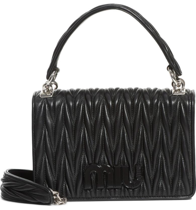 3b75c04c97 Miu Miu Matelasse Quilted Lambskin Leather Top Handle Bag - Black In Nero
