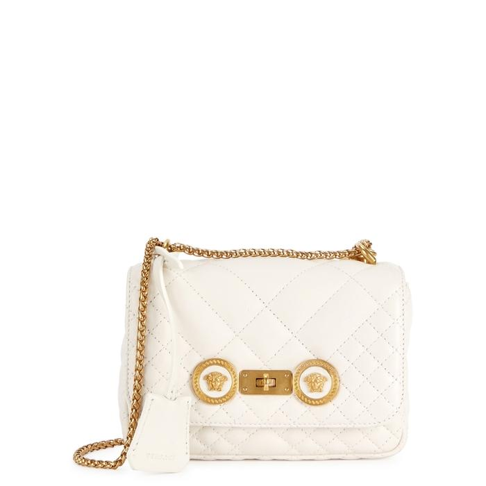 Versace Icon Small Quilted Leather Shoulder Bag In White