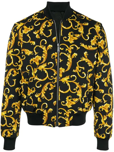 0bbaccd6e Baroque-Print Reversible Shell Bomber Jacket in A408 Black