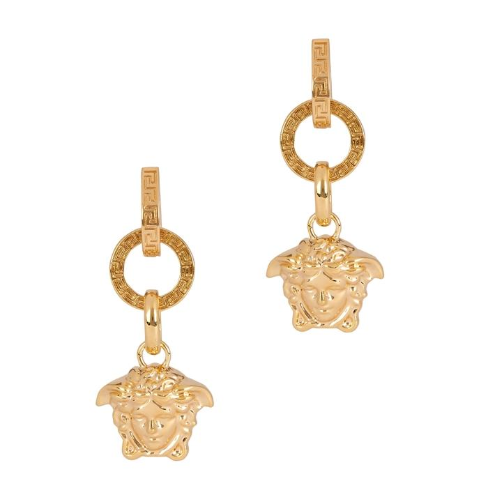 1fa8f0f40 Versace Gold Tone Medusa Drop Earrings | ModeSens