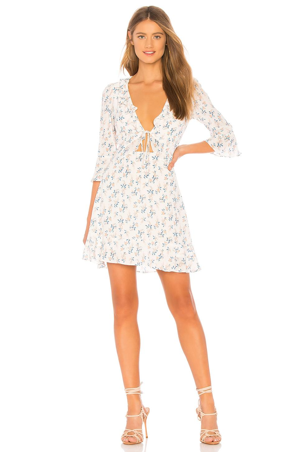 6ae416a6cb372 For Love & Lemons X Revolve Tie Front Mini Dress In White Floral ...